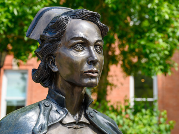 Bronze statue of nurse at Galt Museum